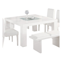 Global Furniture - Global Furniture USA Lony Square Dining Table in White - Constructed of oak wood veneers this dining table makes a bold statement. Finished in white with a frosted center glass and square shape you will have more than enough room to entertain and enjoy your dining experience