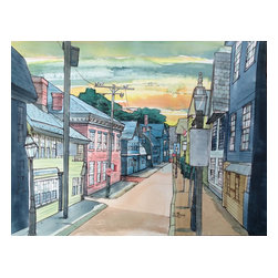 Painting by Jorge Paricio - Sunset on Spring Street, Newport, Rhode Island, 2014 - Watercolor painting mounted on wood, of sunset in Newport, Rhode Island.