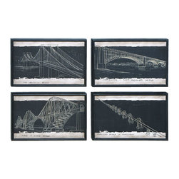 "Benzara - Blueprint Style Art With Iconic World Bridges - Why not enjoy your decor with reminders of some of the most impressive structures in the world. This center piece in each of these is an iconic bridge, a modern marvel of building. From Brooklyn, NY to Venezuela these frames feature the best angle of these bridges in the unique style of an architectural blueprint. The perfect gift to hang in the home office.; Made of wood; Sizes: 16""x1 1/2""x10"""