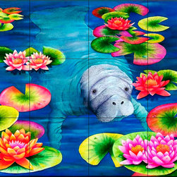 The Tile Mural Store (USA) - Tile Mural - Manatees High Tee  - Kitchen Backsplash Ideas - This beautiful artwork by Carolyn Steele has been digitally reproduced for tiles and depicts a lonely manatee.  Our mermaid and manatee tile murals are a great way to add something unique to your kitchen backsplash tile project. Make your tub and shower surround bathroom tile project exceptional with one of our decorative tile murals of mermaids or manatees. Decorative tiles with mermaids are beautiful and timeless and will never go out of style. Make a mermaid tile mural or a tile mural of manatees part of your bathroom wall tile and enjoy this tile mural every day in your newly renovated bathroom.