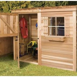 Cedar Shed 8 x 4 ft. Bayside Wood Storage Shed - Additional features: Complete with one year limited manufacturer's warranty Non-functional window measures 16.25W x 25.25H inches Cedar Dutch door measures 36W x 71H inches Door can be placed on any side Assembly is easy with all necessary tools, even the bit, included Wood arrives pre-cut and ready to build Cedar features natural oils that preserve wood and resist insect damage When the season's change, head for the Cedar Shed 8 x 4 Ft. Bayside Wood Storage Shed. For the sleds in the winter or the sun chairs in the summer, this rectangular shed keeps all your outdoor valuables safe and dry, all year long. Ideal for small yards or narrow spaces. Ships complete with all the necessary tools for easy, comprehensive assembly.For your convenience, liftgate service is included with this purchase. This means that upon delivery, the carrier will use a liftgate on the truck to lower your item to the ground. You will then need a dolly or handtruck, or assistance with the product from that point on. Many retailers charge for this service of getting the package off the truck or require the customer to do it themselves.About Cedar Shed IndustriesSince 1980, Cedar Shed has grown to be one of the largest specialty cedar product manufacturers in the world. They offer top quality products like gazebos, sheds, and outdoor furniture, all made from high-quality Western Red Cedar. Over the years, Cedar Shed has grown, developed, and matured to the point where they are now shipping thousands of gazebos and garden sheds every year to customers around the world. Why Western Red Cedar?The supremacy of Western Red Cedar as an all-weather building material is entirely natural. Along with its beauty, stability, and endurance, Western Red Cedar contains natural oils that act as preservatives to help the wood resist insect attack and decay. Properly finished and maintained, Western Red Cedar ages gracefully and endures for many years. Western Red Cedar is non-toxic and safe for all uses. Over time, the wood remains subtly aromatic and the characteristic fragrance adds another dimension to the universal appeal of the Cedar Shed products.