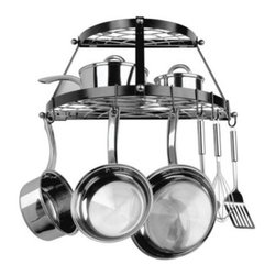 """Double Shelf Wall Mount Black Pot Rack - Break away from the mold with the 2-Shelf Wall Mount Black Pot Rack. This unique pot rack has a double-shelf design and unlike traditional racks that hang from the ceiling this one mounts directly to the wall making it great for spaces with high or vaulted ceilings. This metal rack features a contemporary black finish that looks beautiful next to any cookware. Your pans can hang with """"""""S"""""""" hooks along the rail larger items and pot lids rest easily on either of the two shelves. 8 hooks are included. This rack holds up to 40 pounds and includes all of the necessary mounting hardware. A five-year limited household warranty is included. About Range KleenHeadquartered in Lima Ohio Range Kleen has been supplying consumers with top quality range replacement parts for over 30 years. In recent years the company has expanded their line to include various range accessories and kitchen cookware and they are well known for their attention to detail use of superior materials and high quality craftsmanship. Range Kleen holds the #1 brand ranking in range accessories and has held that position since 1992. After trying their cookware we think you'll understand why."""