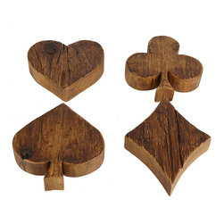 Europe2You - Europe2You The European Kitchen Suit Trivets, Set of 4 - Poker face. Four playful trivets are handcut from reclaimed wood into the shape of card suits—heart, diamond, club, and spade. Use them to protect your table from hot pots and pans, or let them work as light-hearted serving platters for fruit, cheese, crackers, and charcuterie. That's four of a kind!Set of four block trivetsReclaimed 1880 woodThe European Kitchen collectionApprox. 8'' W x 2'' D