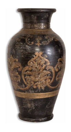 Old World Black Gold Small Vase - *This terracotta vase is hand painted in aged black and gold.