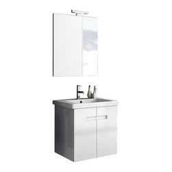ACF - 24 Inch Glossy White Bathroom Vanity Set - This luxury Italian-made bathroom vanity set features a waterproof panel made of engineered wood in a beautiful glossy white finish.