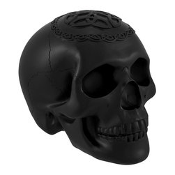 Black Skull with Celtic Knotwork Statue Pagan - This smooth black skull is an excellent addition to any skull collection. Made of cold cast resin, it measures 5 inches tall, 6 1/2 inches long, and 4 1/2 inches wide. The shape of the skull is wonderfully detailed with well defined cranial bones and an endless Celtic knotwork pattern on the top. This piece is an awesome accent to bookcases, shelves, tables or desks in your home or office that is sure to be admired. It is also a thoughtful gift for a skull loving friend.