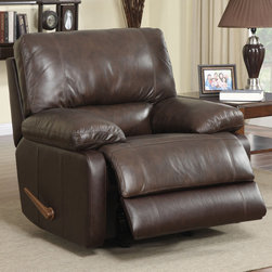 "Coaster - Rocker Recliner, Cognac - Wrapped in a top grain leather match in a beautiful cognac color, this rocker recliner has plush full foam seating and a sturdy wood frame.; Transitional Style; Finish/Color: Cognac; Upholstery: Top Grain leather match; Dimensions: 43""L x 39""W x 39""H"