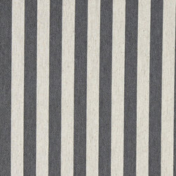 Grey and Off White Striped Linen Look Upholstery Fabric By The Yard - This contemporary fabric is an excellent choice for all indoor upholstery! In addition to looking like linen, this material is woven for enhanced appearance and durability.