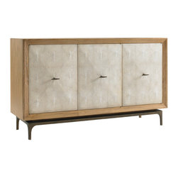 """DwellStudio - DwellStudio Claude Sideboard - The DwellStudio Claude sideboard presents a modern interpretation of Art Deco style. Accenting three ivory shagreen doors, the console's bronze base elicits metallic allure.  68""""W x 18""""D x 35""""H; Solid cerused oak; Bronze; Faux ivory shagreen"""