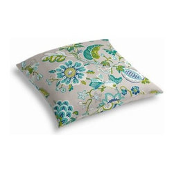 Blue & Gray Whimsical Floral Custom Outdoor Floor Pillow - Pick up a Simple Outdoor Floor Pillow for your next shindig under the sun. Perfect for an outdoor picnic or Moroccan style cabana party. We love it in this outdoor friendly gray, blue and teal stylized floral.
