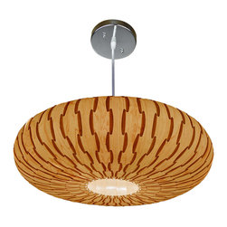 OAKLAMP - Wood Pendant Lamp (Ceiling Lighting) - OP1003L-MP - The first photo shows what the lamp looks like when illuminated. The second photo shows what the lamp looks like when turned off.