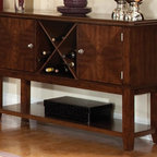 Standard Furniture - Sideboard in Sienna Brown Finish - Regency - Knock-down construction. 2 Cupboards. Wine rack for storage. Bottom shelf. Surfaces clean easily with a soft cloth. Quality veneers over wood products and select used throughout. May contain some plastic parts. Aged vintage Sienna Brown finish. 52 in. W x 18 in. D x 36 in. H (132 lbs.)Regency features unique simplicity coupled with an updated design blend making it the perfect complement to your home.