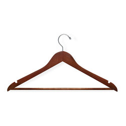 None - Honey Can Do Cherry Wood Hangers (Case of 24) - Hang your clothes with these hangers. These wooden hangers feature a cherry finish and have a non-slip hanging bar.