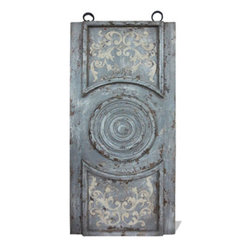 Koenig Collection - Old World Traditional Circular Wall Plaque, Old World Grayish Teal Distressed - Circular Wall Plaque, Old World Grayish Teal Distressed with Bone Scrolls