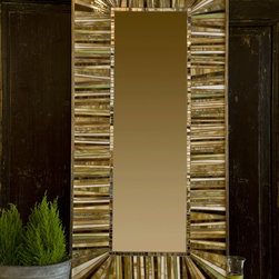 Mosaic mirrors - Beautiful mosaic mirror, this one made in neutral shades of glass.  All my mirrors are custom, so the size, design and color pallette can meet my client's needs.  Photo by Albert Johnson