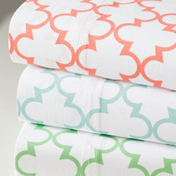 Everyday Printed Percale Bedding, Tile - I love the sorbet colors and modern geometrical pattern of these sheets.