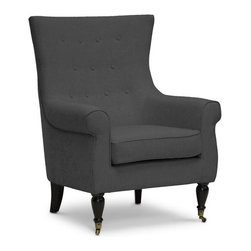 """Wholesale Interiors - Osmaston Gray Linen Modern Accent Chair - Enjoy the simple pleasure of a piping hot cup of tea in your new favorite chair. We love the Osmaston Modern Accent Chair's soft, neutral gray linen with subtle curved back and scroll arms. Chinese-made with an engineered wood frame, the designer living room chair features a removable seat cushion, all padded with foam cushioning (CA117 compliant). Matching gray linen piping on the edges adds a dimension of tailored polish. Black lacquer wood legs, the front two of which feature decorative antiqued metal wheels, complete the look. The Osmaston Modern Club Chair requires minor assembly and calls for spot cleaning as necessary. Also available is the Osmaston Arm Chair in beige linen (sold separately). Product dimension: 32.75""""W x 34.25""""D x 41.37""""H, seat dimension: 21""""W x 21""""D x 19.25""""H, seat height: 25""""."""