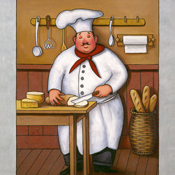 Murals Your Way - Chef 3 Wall Art - This charming chef will add some whimsy to your kitchen with his bright red kerchief and toque blanche