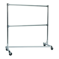 Z Racks - Heavy Duty Double Rail Z-Rack Garment Rack in - Base Color: White/Off-White. 500lb capacity. 14 gauge, 60 in. Long steel base (Environmentally safe powder coated finish ). 16 gauge, 60 in. upright bars and double hang rails. 1 5/16 outside diameter upright bars and hang rail. Grey non-marking soft rubber with TP center 4 in. casters. Made in the USA. 63 in. L x 23 in. W x 67 in. HThis Z-Rack is designed to hold up to 500 lbs of apparel, while maximizing all five feet of length. And because the two rows are placed on top of each other, the rack will not tip under a heavy load.