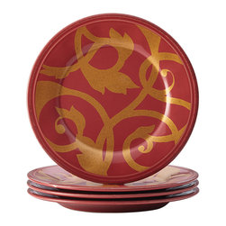 Rachael Ray - Red & Gold Scroll Appetizer Plate - Set of Four - Crafted from durable stoneware, these vibrant red and gold plates add chic style to the tabletop design.   Includes four plates 6'' diameter Stoneware Dishwasher-safe Imported