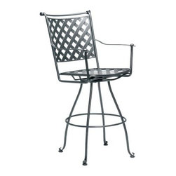 Woodard Maddox Swivel Barstool - A great addition to any patio or yard, the Woodard Maddox Swivel Barstool is perfect for enjoying fun-filled evenings outdoors with friends. Hand-crafted from solid wrought iron and finished with the highest-quality powder-coat paint for durability and lasting beauty, this bar stool comes in a selection of finishes to match your outdoor decor. The convenient swivel feature offers ease of movement and minimizes scuff marks on the floor. The elegant, latticed look of this bar stool will add a dash of casual, contemporary charm to your outdoor setting.Recommended care: Clean with warm, soapy water. In case of any damage to the paint finish, touch up with paint immediately. To maintain the gloss on non-textured finishes, protect with a fine automotive wax.Important NoticeThis item is custom-made to order, which means production begins immediately upon receipt of each order. Because of this, cancellations must be made via telephone to 1-800-351-5699 within 24 hours of order placement. Emails are not currently acceptable forms of cancellation. Thank you for your consideration in this matter.The Woodard StorySince 1866, the Woodard name has been upheld by master craftsmen loyal to the unparalleled standards established by founder Lyman Woodard. Beginning in the 1930s, the Woodard family developed the first collection of hand-crafted wrought iron furniture. This innovation marked the birth of casual outdoor furniture and ultimately led to casual furniture designs made from a variety of materials, the most prominent being cast and tubular aluminum.Today, Woodard continues the tradition of hand-crafted wrought iron furniture with the same quality craftsmanship implemented by its founder. Under the flagship Woodard brand, wrought iron, cast aluminum, tubular aluminum, and all-season wicker products are manufactured using the finest materials available, state-of-the-art finish systems, and quality-control systems second to none in the industry.