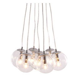 Zuo Modern - Zuo Modern Decadence Ceiling Lamp in Clear - Ceiling Lamp in Clear belongs to Decadence Collection by Zuo Modern Let the warmth of 7 glowing orbs fill your room with light. The Decadence ceiling lamp has 7 glass orbs fixed to a chrome base. The lamp comes with seven 40W bulbs and is UL approved. Lamp (1)
