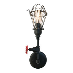 Hammers & Heels - Cage Vintage Upcycled Valve Pipe Wall Sconce, Matte Black - THE VINTAGE INDUSTRIAL PIPE WALL SCONCE