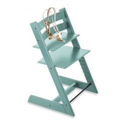Stokke - Stokke Tripp Trapp Aqua Blue Highchair and Accessories - Dare to resist the traditional, molded plastic and vinyl high chair without sacrificing safety. The Stokke Tripp Trapp's innovative design brings baby closer to the table to interact more directly with the family.