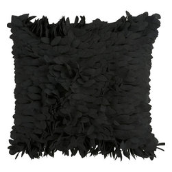 Surya Rugs - Caviar Plush Petal 22 x 22 Pillow - This fun pillow livens up any space. The color black accents this decorative pillow. This pillow contains a poly fill and a zipper closure. Add this 22 x 22 pillow to your collection today.  - Includes one poly-fiber filled insert and one pillow cover.   - Pillow cover material: 100% Polyester Surya Rugs - HH072-2222P