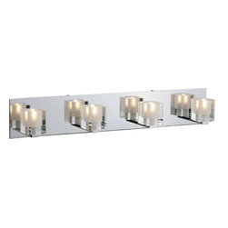 ET2 Lighting - Blocs 4-Light Bath Vanity - Creating a lighter side to life turns out to be pretty easy. The cubes of this light fixture each reflect in a strip of highly polished chrome to make illuminating your bathroom vanity — not to mention your smiling face — an entirely happy experience.