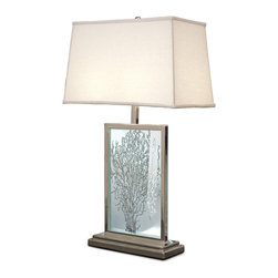 Kathy Kuo Home - Tybee Coastal Beach Sea Fan Etched Glass Table Lamp - Sea fans or sea whips are delicate underwater plants. Now, they can beautify your home, etched in glass on this modern table lamp. Framed in polished silver on a rectangular base, this artwork adds a nautical touch to your room.