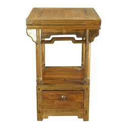 Pre-owned Antique Chinese Accent Table - An unusual Antique Chinese Small Accent Table ( Nightstand or Bedside Table) dating to 1900 in elm from the Shanxi Province, that was originally used as a kitchen stove.    Overall Condition is Restored. Shows normal wear to the finish and miscellaneous nicks, dings, and scratches due to age and use. The top panel has been replaced with old wood.    It had previously been used as a stove.