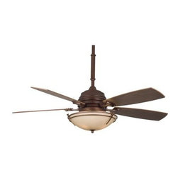 "Fanimation Presidio Tryne 54 in. Indoor Ceiling Fan with Light - If the Fanimation Presidio Tryne 54 in. Indoor Ceiling Fan with Light is just another ceiling fan then what's all the fuss about? Lean back on your sofa and you'll soon understand how a simple fan and light can change your room. This 3-speed fan sports body in choice of finishes over a stone glass bowl that's enhanced by metal deco elements. Each of the five wooden blades has a color to complement the finish chosen for the body and can spin in forward or reverse at your choice with just a flick of the included remote control. The light uses three 40-watt candelabra bulbs and the six-inch down tube allows you to attach it to most ceilings even those at an angle. Additional Features: 80-inch lead wires 110-volt motor Blade pitch: 15 degrees UL listed Dry About Fanimation:27 years ago in a Pasadena garage Tom Frampton pursued a desire to create innovative high-quality ceiling fans by producing his very first design the Punkah. Before long the market began to take notice of Tom's designs and Fanimation was born. Today Fanimation offers its products in over 1 500 retail stores and 33 countries. Fanimation's unique designs have been used in magazines such as Vanity Fair and Modernism as well as gracing both the large and small screens on HGTV and Extreme Makeover Home Edition and the film """"I Robot""""."
