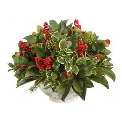 Winward Designs - Rose Bud Berry Arrangement - Your dining room table will be set for a festive celebration with this permanent display of holiday berries, flower buds and foliage. It's an elegant addition to your Christmas decor and will be enjoyed season after season.
