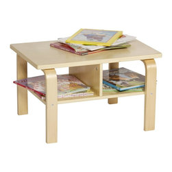 GuideCraft - Nordic Reading Table - Storage table has an upper tabletop. Lower shelf with dividers. Bent plywood legs. Age: 3 and above. Made from  birch plywood with a matte UV top coat. Assembly required. 23.75 in. W x 17.25 in. D x 14 in. H (15 lbs.)Create the perfect reading or play area. The Nordic Reading Table is a great addition to the Kiddie Rocker, Nordic Rocker and Nordic Couch family of products. Solidly constructed of birch plywood with a matte UV topcoat.