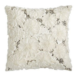 Rosette Sequins Pillow - For the romantic at heart, this rosette pillow is sure to put a smile on your face.