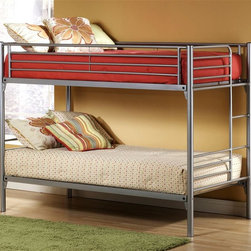 Hillsdale - Universal Youth Metal Twin Over Twin Bunk Bed - Silver Finish. Bunk Bed Warning. Please read before purchase.. NOTE: ivgStores DOES NOT offer assembly on loft beds or bunk beds.. 41.5 in. W x 80.75 in. L x 61.25 in. H