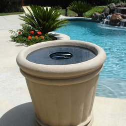 """Garden and yard - The 34"""" Kutstone Roman Urn is a planter that can double as a discreet trash can!  Insert a regular-sized trash can and install the optional trash ring - waste disposal never looked so good!"""