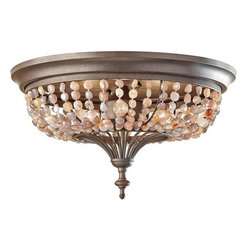 Murray Feiss - 3 Bulb Rustic Iron Flush Mount Fixture - - UL Damp Approved.