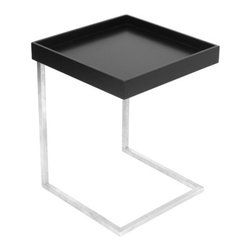 LumiSource - Zenn Tray End Table - The Zenn Tray End Table has a modern brushed stainless steel frame with a removable black wood tray that is simple yet elegant. Features: -Stainless steel frame. -Removable wood top can be used as a serving tray. -Contemporary design. -Great for use an end table.