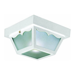 DHI-Corp - Outdoor Ceiling Mount Light, 10.5-Inch by 5.5-Inch, White Polypropylene - The Design House 501858 Outdoor Ceiling Mount Light greets your guests at the door with a soft, inviting glow. Featuring a white polypropylene finish and frosted glass, this ceiling mount light has subtle curved details and a shadow box design. The small construction will emit just enough light for easy entry into your home or cottage without overpowering glare. With subtle details and a bright finish, illuminate your front porch or back deck with this fixture. Measuring 10.5-inches by 5.5-inches, this lamp matches brick, stone, wood paneling or aluminum siding. This light features (2) 60-watt medium base incandescent lamps and is rated for 120-volts. UL listed and UL approved for wet areas, this mount light stays bright in harsh weather conditions. Coordinate your home with fixtures and furnishings from the Design House collection for a complete look. The Design House 501858 Outdoor Ceiling Mount Light comes with a 10-year limited warranty that protects against defects in materials and workmanship. Design House offers products in multiple home decor categories including lighting, ceiling fans, hardware and plumbing products. With years of hands-on experience, Design House understands every aspect of the home decor industry, and devotes itself to providing quality products across the home decor spectrum. Providing value to their customers, Design House uses industry leading merchandising solutions and innovative programs. Design House is committed to providing high quality products for your home improvement projects.