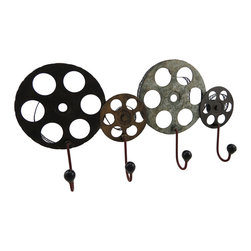 Zeckos - Vintage Look Film Reel Wall Hook Hanging Wall Rack - Classic film buffs will applaud for this decorative metal film reel wall hook perfect for hanging anything from coats and hats in an entryway to throw blankets in a media room This cleverly designed rack easily hangs on the wall using the two attached keyhole hangers on the back. It's crafted from metal and the hooks are topped with a black resin knob. The piece measures 24 inches (61 cm) long, 11 5/8 inches (30 cm) high and 3 1/2 inches (9 cm) deep, and is sure to draw a huge audience of fans, and makes a wonderful gift for a movie loving friend