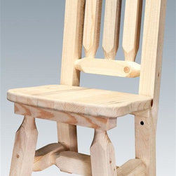 Montana Woodworks - Wooden Child's Chair - Hand crafted. Sawn square timbers and trim pieces for rustic timber frame design. Heirloom quality. Solid lodge pole pine. Lacquered finish. Made in U.S.A.. No assembly required. Seat height: 12 in.. Overall: 13 in. W x 14 in. D x 26 in. H (8 lbs.). Warranty. Use and Care InstructionsFrom Montana Woodworks, the largest manufacturer of handcrafted quality log furnishings in America comes the all new Homestead Collection line of furniture products. Give your child the gift of a lifetime. He or she is sure to pass this extraordinary little chair onto other generations, creating a treasured family heirloom. Each piece signed by the artisan who makes it. Finally a chair made for the younger friends and family. Imagine the delight on your child's face when he or she spots this diminutive chair. Sure to become your childs favorite chair whenever he or she isnt up running around as children like to do.
