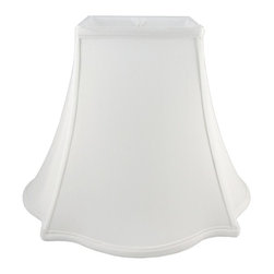 American Heritage Shades - Lampshade in White w Fitter (10 in. Diam x 8.5 in. H) - Choose Size: 10 in. Diam x 8.5 in. HLampshade Types. Shantung faux silk with off-white fabric liner. Hand made. Matching top, bottom and vertical trim. Square top and outscallop square bottom. Enhances lamp and room decor. Made from polyester and fabric. Fitter in brass color. Made in USA. No assembly required