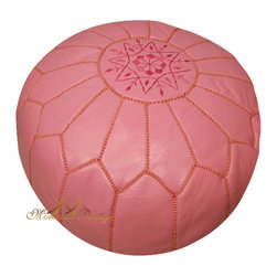 Pink Leather Poufs Moroccan Pouf Moroccan Ottoman - Bubble gum pink leather - this candy-coated pouf is one of my favorite hues.  It would look sweet in a nursery or anywhere you need extra seating at home.