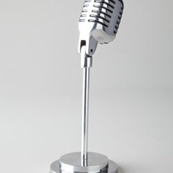 "Horchow - Vintage-Style Microphone - Into retro decorations? Then this vintage-style microphone is the perfect desk, shelf, or tabletop accessory. Handcrafted of aluminum. 5""Dia. x 13.75""T. Imported."