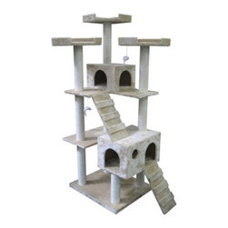 Kitty Mansions - Kitty Mansions Bel Air Cat Tree - BEL AIR-BEIGE - Shop for Towers and Houses and Accessories from Hayneedle.com! Is your cat ready to move up to that deluxe apartment in the sky? Well they will with the Kitty Mansions Bel Air Cat Tree! This masterpiece has multiple platforms an extra large master bedroom stairs that lead to another bedroom three watch towers and scratching posts located everywhere! For those cats who enjoy the finer things in life!