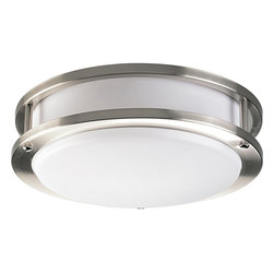 Progress Lighting - Progress Lighting Contemporary Flush Mount Ceiling Light X-BWBE90-9427P - Surprisingly incredible fixture with energy efficient quality, the Progress Lighting Contemporary flush mount ceiling light produces general ambient illumination for additional brightness to any variety of rooms. The industrialize look features a circular frame with a layered look and brushed nickel finish. The white acrylic shade casts a warm glow for a livelier atmosphere.