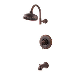 "Pfister - Pfister R89-8YPU Rustic Bronze Ashfield Ashfield Single Handle Tub and - Ashfield Single Handle Tub and Shower Trim PackagePfister's traditional-themed Ashfield collection of kitchen and bathroom faucets maintains a traditional heart and is a fitting accent for today's homes. Pfister's largest collection offers the charm of vintage décor and is inspired by time-honored country traditions. The kitchen faucets feature high-arc spouts, single or double handle controls, and up to five finish options. Soap dispensers and sidesprays are optional features, and the pull out spray faucet is lead-free. The Ashfield collection also includes a selection of bathroom fixtures and accessories. The bathroom faucet's unique pump handle and trough design will delight even the most finicky homeowner, and is complemented by a gorgeous Roman tub filler. Choose from a full of bathroom accessories like towel bars, towel rings, and tissue holders.Trim package for tub and shower applications (Valve sold separately)Includes rainshower shower headIncludes shower arm and shower arm wall flangeIncludes 1 metal lever handle with wall plate (escutcheon)Includes diverter tub spoutAll brass construction - Weight: 4.5 LBSADA CompliantShower head flow rate: 2.2 gallons-per-minuteDesigned for use with standard US plumbing connectionsAll necessary mounting hardware included (Does not include valve)5"" IP threaded metal diverted tub spoutFully covered under Pfister s Pforever Lifetime WarrantyAbout PfisterFounded in 1910, Pfister (previously known as Price Pfister) is one of America's oldest and most experienced plumbing companies. As the first faucet manufacturer in the world to offer a lifetime warranty on their products, quality has always been the cornerstone of Pfister faucets. Brass bodies, ceramic disc valves, and lifetime PVD finishes name a few of the features you'll find in their product line. You will als"