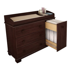 South Shore - South Shore Sunny Baby Changing Table in Royal Cherry Finish - South Shore - Baby Changing Tables - 3346333 - This changing table designed with baby's safety in mind allows parents to store all changing essentials at arm's reach. In addition the changing station can be removed in order to turn the item into a dresser when the child is older.